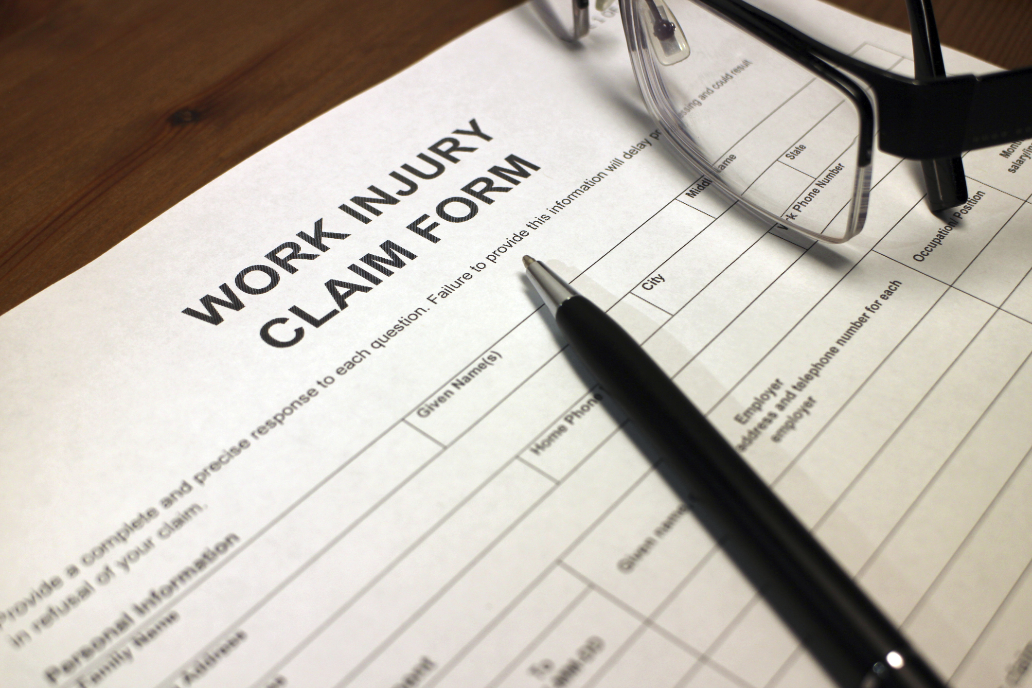 Injury Claim Form for Workers' Comp Defense